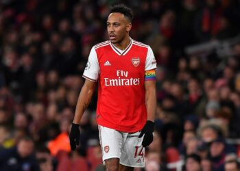 Arsenal's Gabonese striker Pierre-Emerick Aubameyang reacts during the English Premier League football match between Arsenal and Brighton and Hove Albion at the Emirates Stadium in London on December 5, 2019. (Photo by Ben STANSALL / AFP) / RESTRICTED TO EDITORIAL USE. No use with unauthorized audio, video, data, fixture lists, club/league logos or 'live' services. Online in-match use limited to 120 images. An additional 40 images may be used in extra time. No video emulation. Social media in-match use limited to 120 images. An additional 40 images may be used in extra time. No use in betting publications, games or single club/league/player publications. /