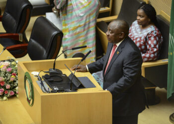 South Africa's President Cyril Ramaphosa, the new Chairman of the African Union (AU), addresses the opening session of the 33rd AU Summit, at the AU headquarters in Addis Ababa, Ethiopia Sunday, Feb. 9, 2020. Topics on the table for discussion included the situations in Libya and Sudan, as well as President Donald Trump's Middle East initiative. (AP Photo)/NAI117/20040516428761//2002091628