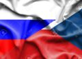 Waving flag of Czech Republic and Russia