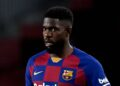 BARCELONA, SPAIN - JANUARY 19: Samuel Umtiti of FC Barcelona conducts the ball during the Liga match between FC Barcelona and Granada CF at Camp Nou on January 19, 2020 in Barcelona, Spain. (Photo by Alex Caparros/Getty Images)