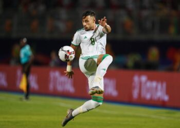 Mohamed Youcef Belaili of Algeria     during the 2019 African Cup of Nations match between Algeria and Guniea at the 30 June Stadium in Cairo, Egypt on July 7,2019. (Photo by Ulrik Pedersen/NurPhoto via Getty Images)