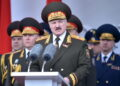 epa08411290 Belarus' President Alexander Lukashenko gives a speech during a military parade to mark the 75th anniversary of the allied victory over Nazi Germany in World War Two, in Minsk, Belarus, 09 May 2020.  EPA/SERGEI GAPON / POOL (MaxPPP TagID: epalivefour786662.jpg) [Photo via MaxPPP]